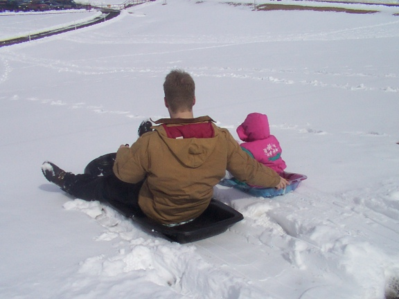 Shawn and Carrie sledding - 3/23/02